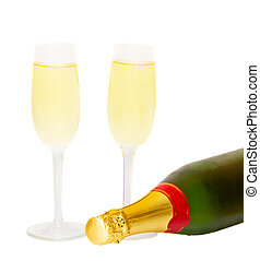 two glasses of champagne with bottle