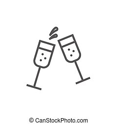 Two glasses of champaign line icon. - Two glasses of ...
