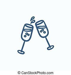 Two glasses of champaign sketch icon. - Two glasses of ...