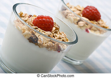 Two glasses of deliciously fresh yogurt and muesli