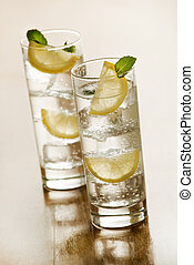 Mineral water - Two glasses of Fresh Mineral water with ice...