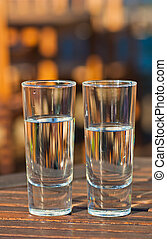 Two glasses of fresh water