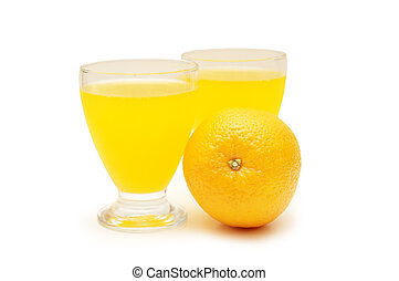Two glasses of juice and orange isolated on white