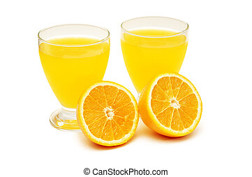 Two glasses of orange juice and orange isolated on white