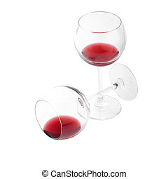 Two glasses of red wine on white background.