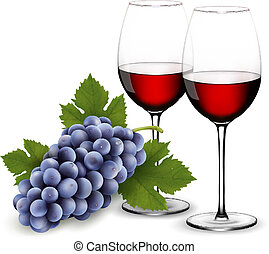 Two glasses of red wine with grapes. Vector.