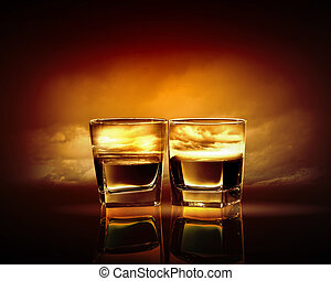 Two glasses of whiskey with sea illustration in against sky ...