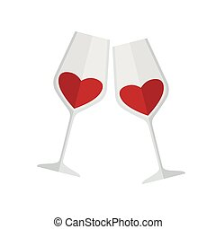 Two glasses of wine. Colored vector illustration on white