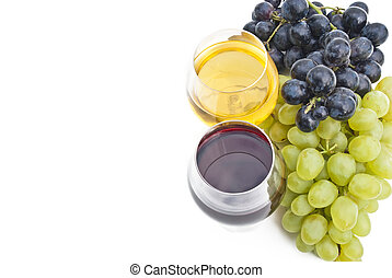 two glasses of wine with grape