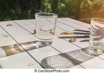two glasses on a table with autumn leaves