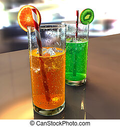 two glasses on a table with droplet