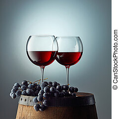 two glasses on red wine