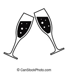 Two glasses simple icon