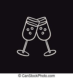 Two glasses with champaign sketch icon. - Two glasses with ...