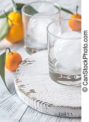 Two glasses with ice