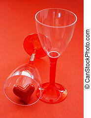 Two glasses with valentine heart