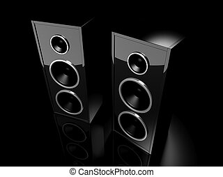 Two glossy black speakers with reflection on black background