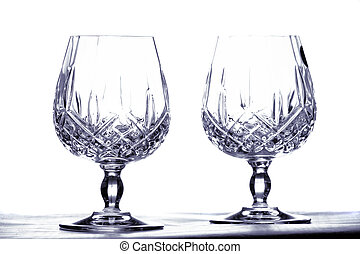Two goblets - Two cut glass goblets over light background