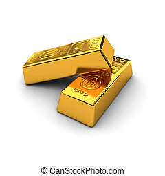Two gold bars over white background