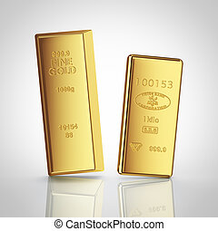 two gold bars with reflection on white background