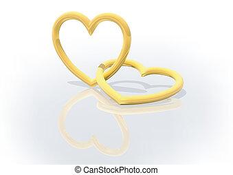 Gold Entwined Hearts - Two Gold Entwined Hearts - background...