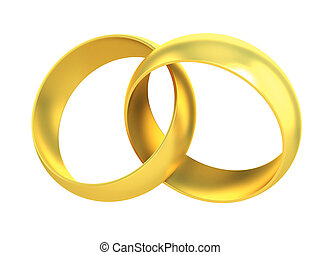 two gold rings crossed symbolizing marriage
