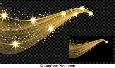 Two gold waves with a glitter effect on a checkered and black background. Comet with a luminous tail and stars. illustration