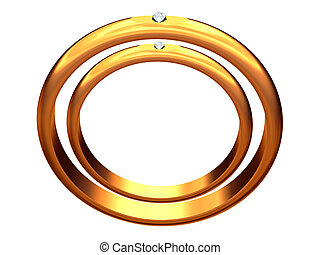Two gold wedding rings, one in other.