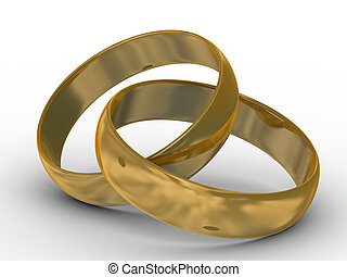 Two gold wedding rings. the 3D  image.