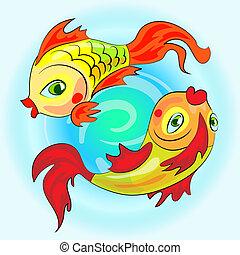 two gold zodiac fishes - Zodiac gold fish swim in water