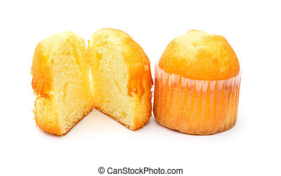 two golden cup cakes on a white background
