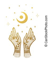 Two golden female hands and a crescent moon with stars. Vintage illustration for tarot, palmistry, witchcraft, astrology. Vector illustration is isolated on a white background.