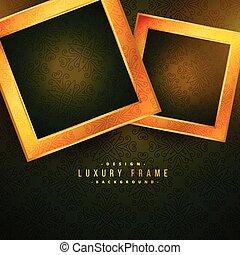 two golden frames on green floral background vintage style