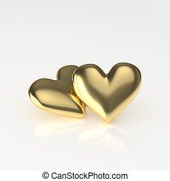 Two Golden Heart. 3D Render on White Background