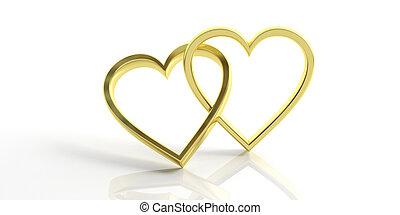 Two golden heart shape wedding rings isolated on white background, 3d illustration
