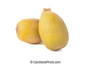 two golden kiwi fruit