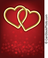 Two golden linked hearts.
