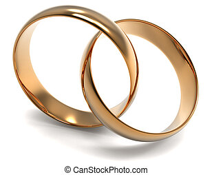 Two Golden Ring on white background