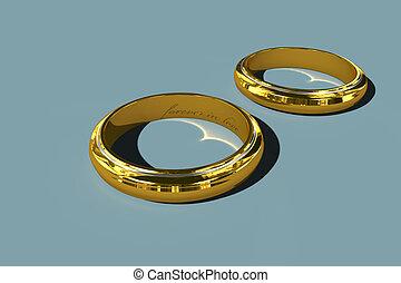 two golden wedding rings