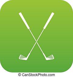 Two golf clubs icon digital green