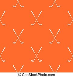 Two golf clubs pattern repeat seamless in orange color for any design. Vector geometric illustration