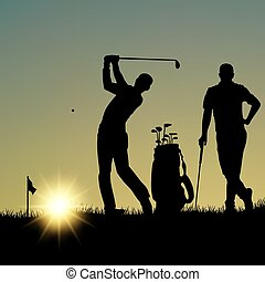 Two golfers silhouette playing on the playground at sunset