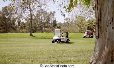 Two golfing buggies or carts on a golf course - Two golfing...