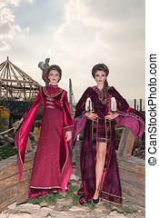 Two gorgeous women in retro clothes