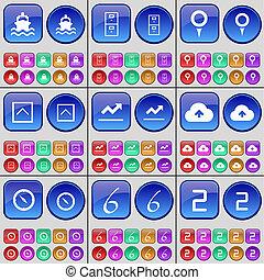two., grand, haut, ensemble, point de contrôle, archive, graphique, six, buttons., compas, flèche, multi-coloré, nuage, bateau