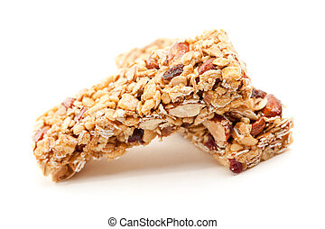 Two Granola Bars Isolated on White - Two Nutritious Granola...