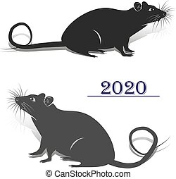 Two gray rats, silhouette for the design of the new year 2020, on a white background