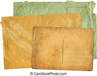 Two greater old envelopes and postcard on a white background