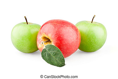 Two green and red apples with a leaf