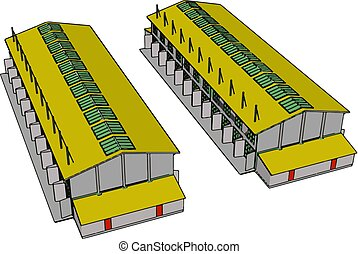 Two green and yellow large modern barns with open shuts and green roof windows vector illustration on white background